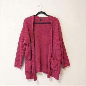 Torrid Red Metallic Lurex Knit Cardigan